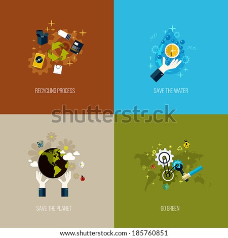 Icons for recycling, save the water, save the planet and go green. Flat style. Vector - stock vector
