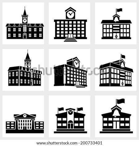 Icons for school on a white background - stock vector