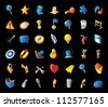 Icons for signs and metaphors. Black background. Vector illustration. - stock vector