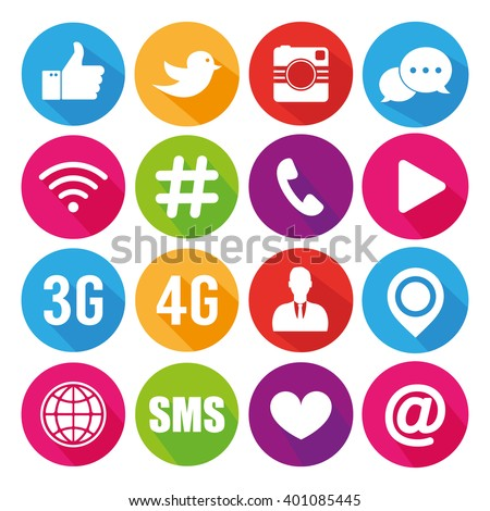 Icons for social networking vector - stock vector