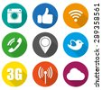 Icons for social networking vector illustration in flat - stock vector