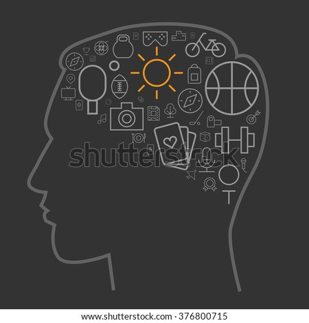 Icons for sport and leisure arranged in human brain shape. Vector illustration. - stock vector