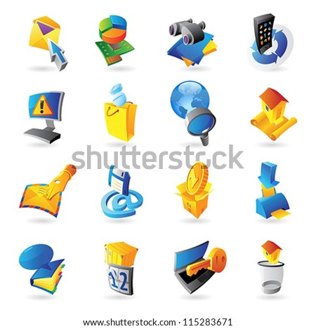 Icons for technology and computer interface. Vector illustration.