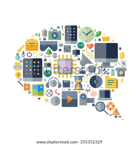 Icons for technology and electronic devices arranged in speech bubble shape. Vector illustration. - stock vector