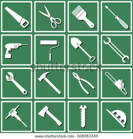 Icons for tools:  saw, scissors, paint brush, screwdriver, drill, roller, shovel, wrench, adjustable wrench, hammer, pliers, chainsaw, hammer, axe, screw helmet. Design flat. - stock vector