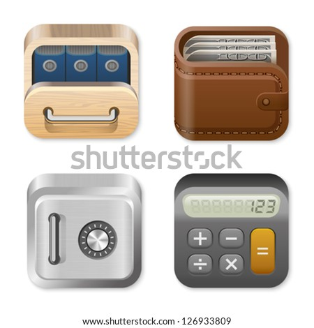 Icons for user interface design templates. Application logo template for Finance and Business apps. Drawer, Wallet, Vault, Calculator. UI Square icons set. High detail vector icon pack. Editable. - stock vector