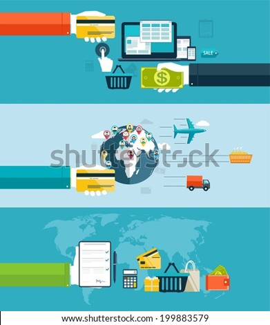Icons for web and mobile design,  seo, delivery of goods motor transport, by air transport, water transport. Electronic payment methods in Internet and shopping. Flat design - stock vector