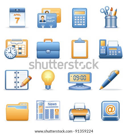Icons for web blue orange series 2 - stock vector