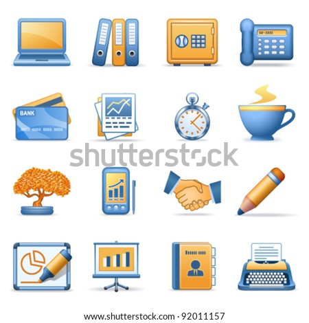 Icons for web blue orange series 3 - stock vector