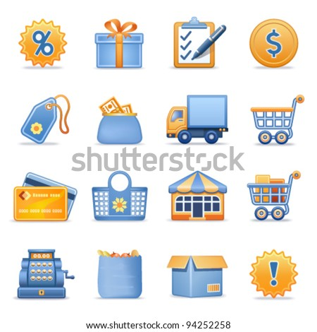 Icons for web blue orange series 6 - stock vector