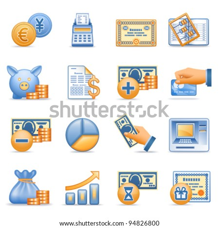 Icons for web blue orange series 7 - stock vector