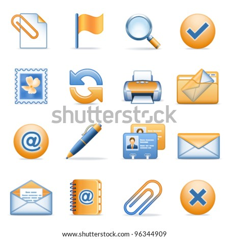 Icons for web blue orange series 9 - stock vector
