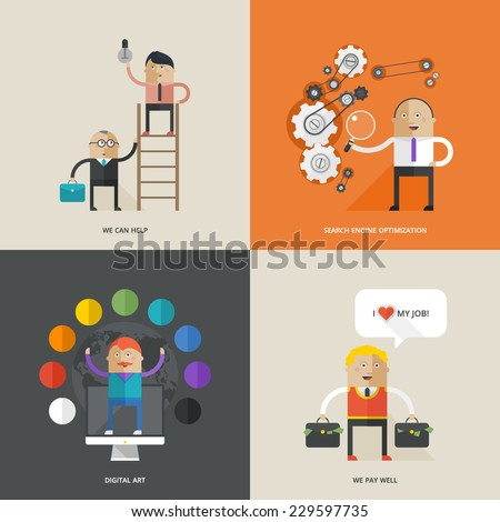 Icons for web design. Flat design - stock vector