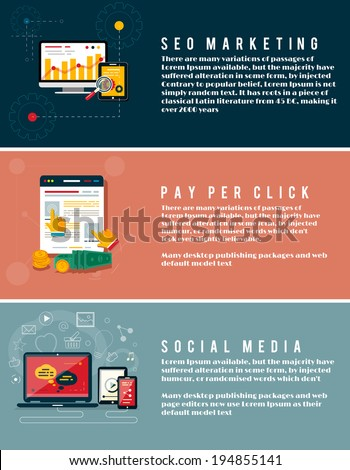 Icons for web design, seo marketing, social media and pay per click internet advertising in flat design. Business, office and marketing items icons. - stock vector