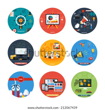Icons for web design, seo, social media and pay per click internet advertising, analytics, business, management, marketing, adaptive design, digital marketing  in flat design - stock vector