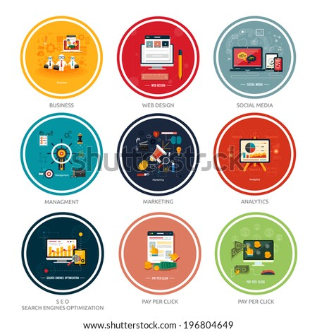 Icons for web design, seo, social media and pay per click internet advertising in flat design - stock vector