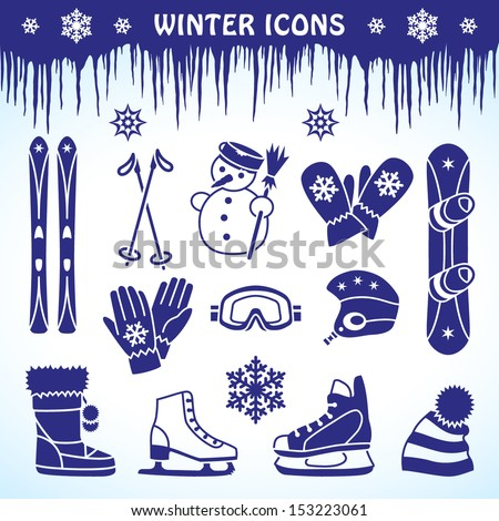 Icons for winter sport equipment and accessories - stock vector