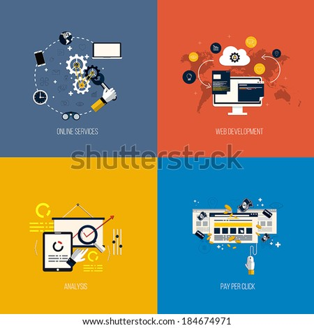 Icons foronline services, web development, analysis and pay per click. Flat style. Vector - stock vector