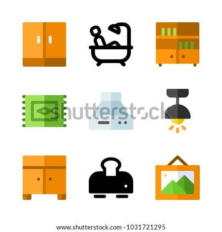 icons Furniture. vector lamp, carpet and cupboard