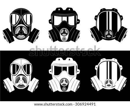 icons gas mask black and white vector illustration isolated on white background - stock vector