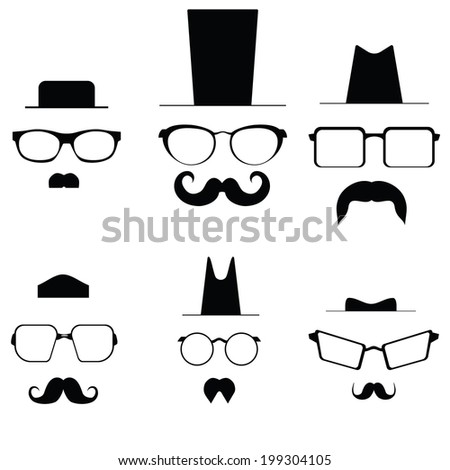 Icons glasses mustache and folders. vector - stock vector