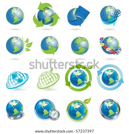 icons globe - stock vector