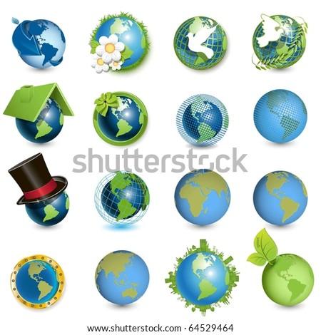 icons globe - stock vector