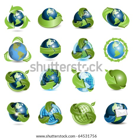 icons globe and arrows - stock vector