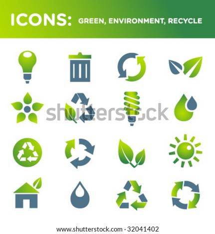 ICONS: green, environment, recycle - stock vector