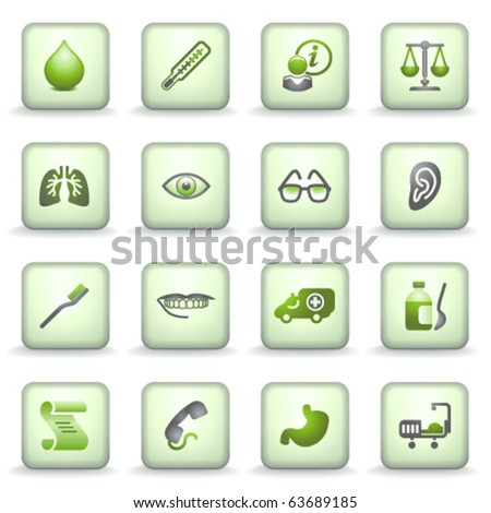 Icons green gray series 8 - stock vector