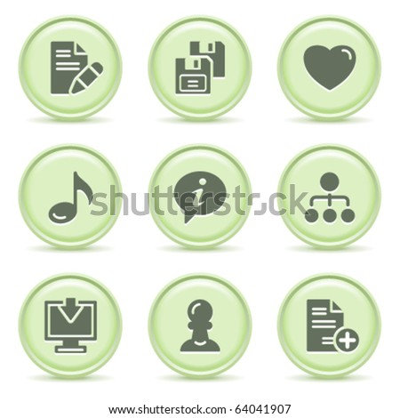 Icons green series 10 - stock vector