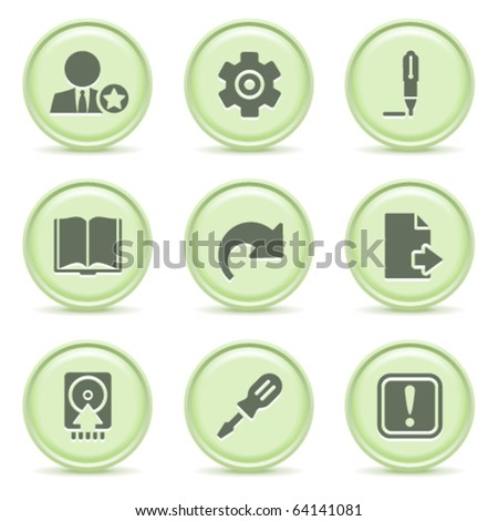 Icons green series 6 - stock vector