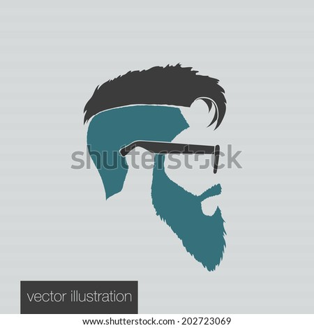 icons hairstyles beard and mustache hipster profile - stock vector