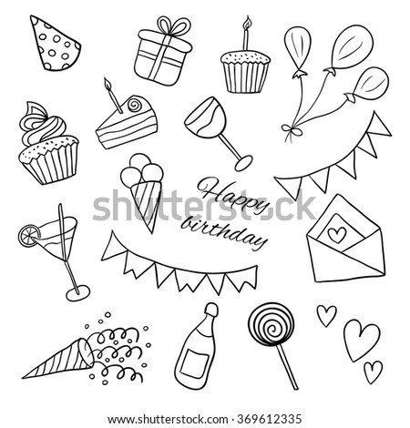 Icons Happy Birthday. Sketch. Vector black and white illustration. Doodles. Balloons, cakes, gifts, crackers, cupcakes, cocktails, ice cream - stock vector