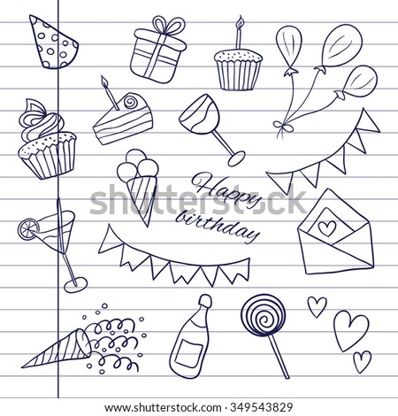"Icons ""Happy Birthday"". Sketch. Vector illustration on notebook background. Doodles. Balloons, cakes, gifts, cupcakes, cocktails, ice cream - stock vector"