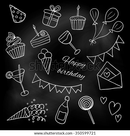 "Icons ""Happy Birthday"". Sketch. Vector illustration. White chalk on a blackboard. Doodles. Balloons, cakes, gifts, crackers, cupcakes, cocktails, ice cream - stock vector"