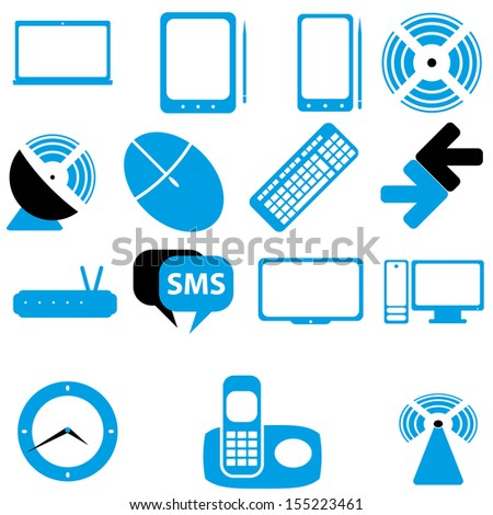 Icons home tech and wireless