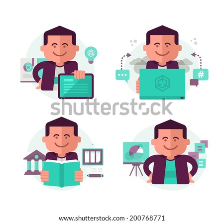 Icons in modern flat style with a man in different education and learning related situations for web, mobile applications and print design. - stock vector