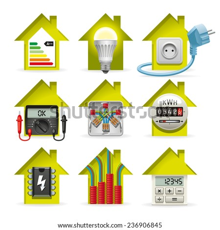 Icons installation of electrical equipment and wiring in the house - stock vector