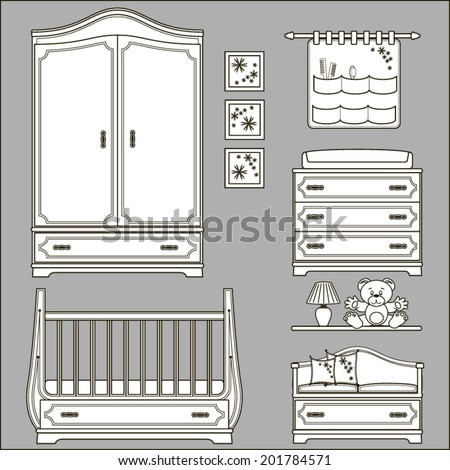 icons kids room  - stock vector