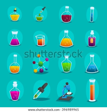 Icons laboratory studies, scientific experiments, equipment, flasks, bottles, analyzes, test tubes, cartoon style. Vector illustration - stock vector