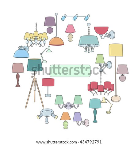 Icons lamps arranged in a circle. Outline icon set, thin line style, flat design. The design idea for the store lamps. Lamp vector illustration: wall lamp, desk lamp, floor lamp, chandelier - stock vector