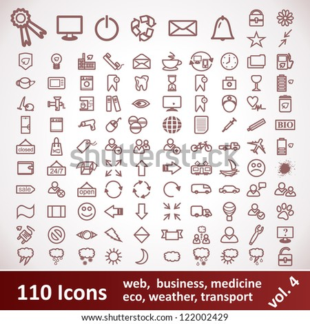 Icons. Large set. 110 Items. - stock vector