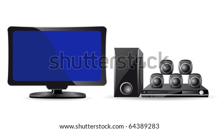 icons LCD TV and domestic cinema vector illustration