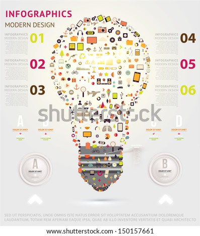 Icons light bulb. Business infographic template. Diagrams and icons set. Numbered banners. Minimal style design for business graphic. Cutout lines and other website design elements. - stock vector