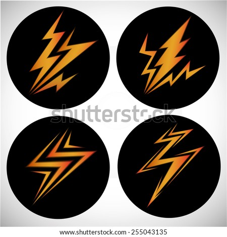icons lightning in the black circle - stock vector