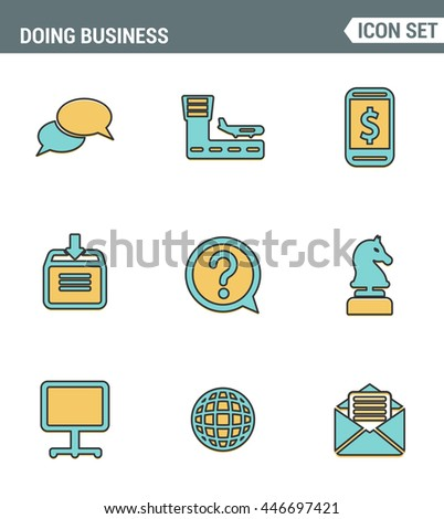 Icons line set premium quality of doing business using technology and communication. Modern pictogram collection flat design style symbol . Isolated white background - stock vector