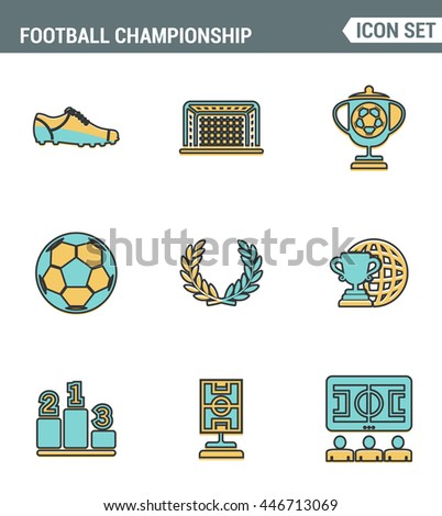 Icons line set premium quality of football championship soccer game world cup. Modern pictogram collection flat design style symbol. Isolated white background - stock vector
