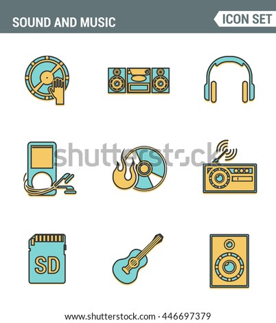 Icons line set premium quality of sound symbols and studio equipment, music instruments, audio multimedia objects. Modern pictogram collection flat design style. Isolated white background