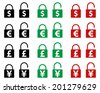 Icons locks with signs of world currencies. - stock vector
